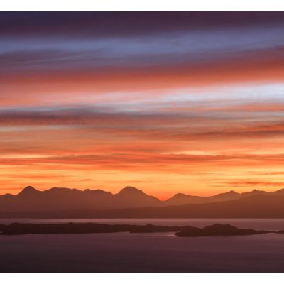 Colourful sky over Applecross in the Scottish Highlands